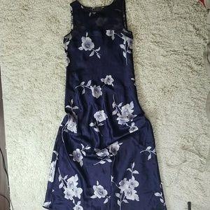 NWOT Halston sleeveless sheer chest floral dress